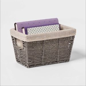 Gray Twisted Paper Rope Small Tapered Basket